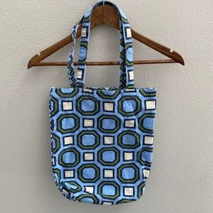Blue and green geometric print canvas tote bag